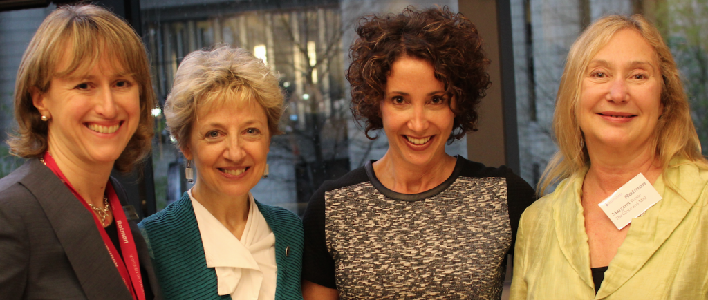 Suzanne Spragge (Rotman), Lisa Kimmel (Edelman), Shari Graydon (Informed Opinions), Margaret Wente (Globe and Mail)