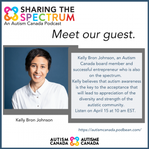 autism canada podcast promo shot with kelly bron johnson sharing the spectrum