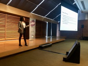 Photo cassie at womxn in data science conference presenting