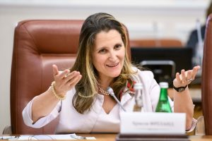 Chrystia Freeland in 2019, then Minister for Foreign Affairs of Canada