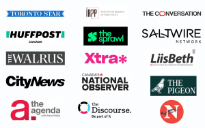 Logos of newsrooms who have pledged to track the ratio of the gender of their sources