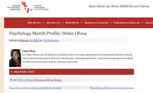 Dr. Helen Ofosu, Canadian Psychological Association Featured Profile