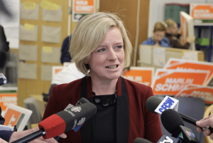 Photo of then-premier of Alberta, Rachel Notley in 2015 by Dave Cournoyer from Edmonton, Canada via wikimedia commons