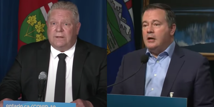 Side-by-side images of Ontario Premier Doug Ford and Alberta Premier Jason Kenney both speaking at lecterns