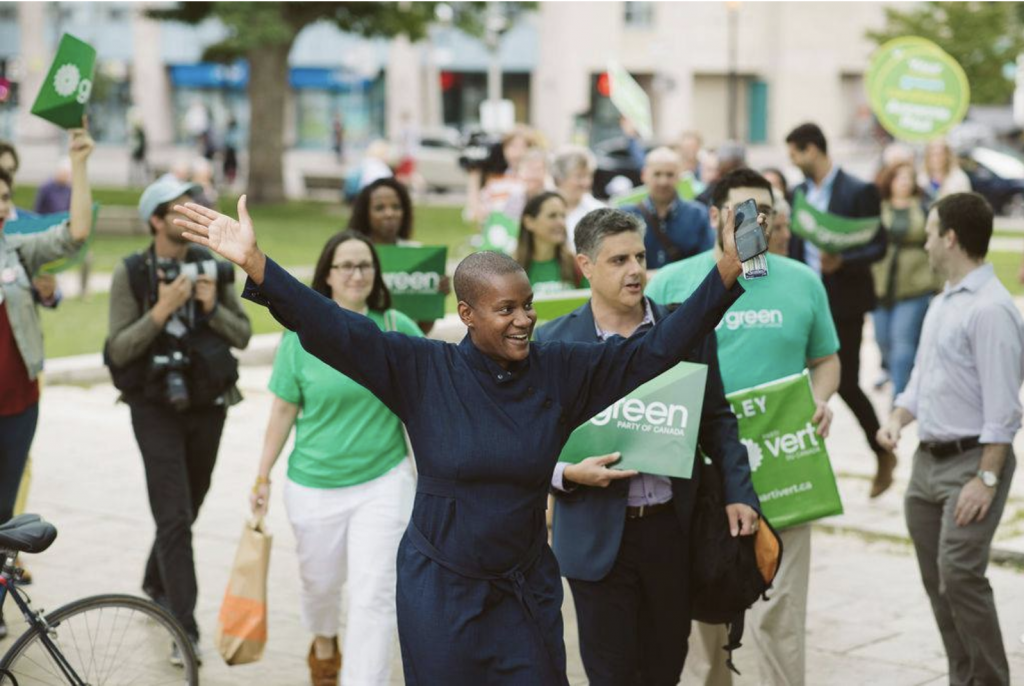 Green Party Leader, Annamie Paul with Green Party of Canada supporters
